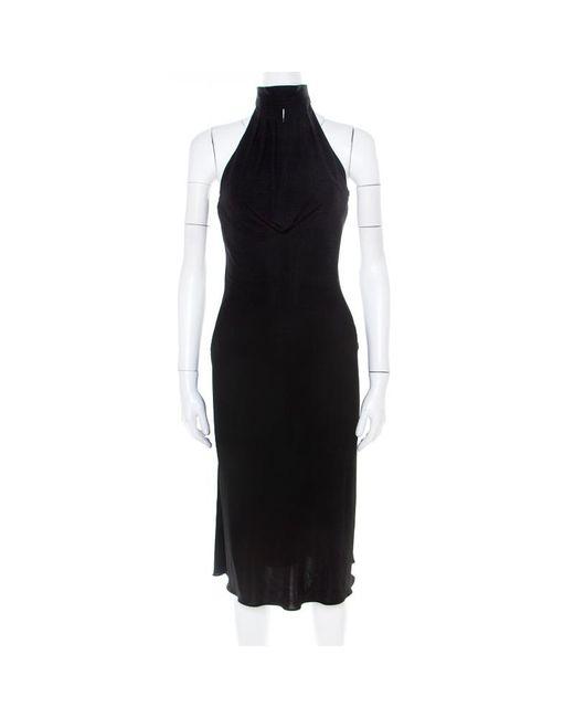 Hervé Léger Black Stretch Knit Draped Neck Pleated Halter Dress M