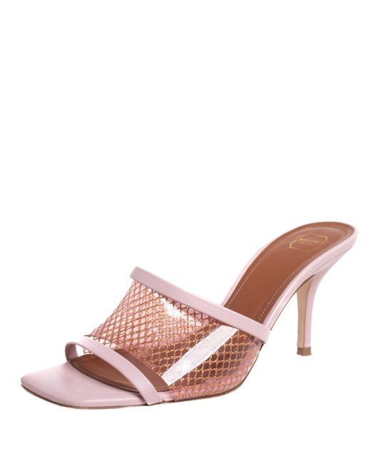 Malone Souliers Pink Leather And Pvc Laney Sandals