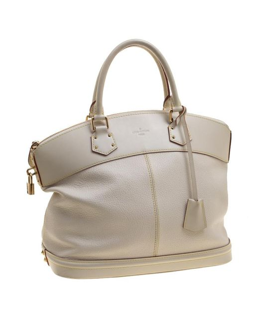11e0d2ef0aae ... Louis Vuitton - White Ivory Suhali Leather Lockit Mm Bag - Lyst ...