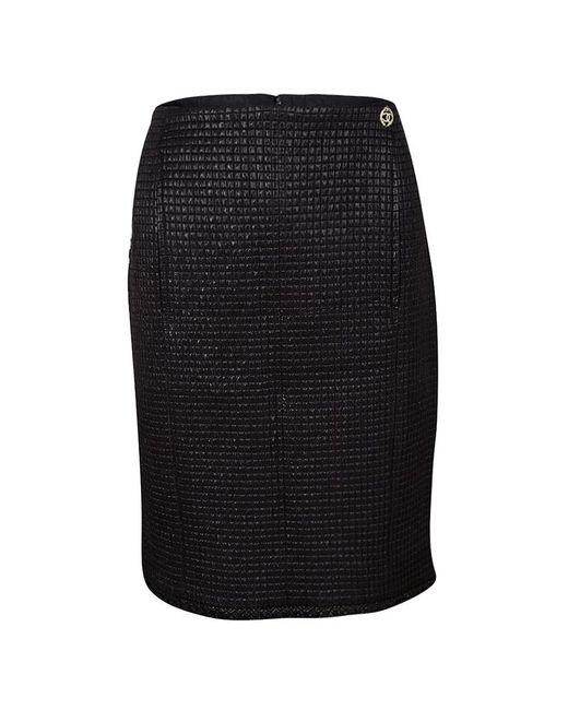 Chanel - Black Lurex Frayed Trim Detail Quilted Pencil Skirt L - Lyst