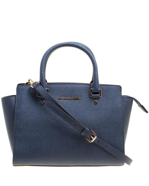 MICHAEL Michael Kors - Blue Leather Medium Selma Top Zip Satchel - Lyst ... 978ef957ed