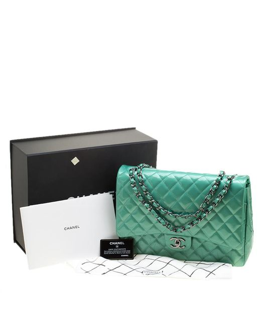 dca03bf222a0 ... Chanel - Green Quilted Patent Leather Maxi Classic Double Flap Bag -  Lyst ...