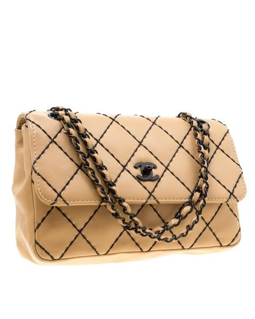 117ceccd580e ... Chanel - Natural Beige Quilted Leather Wild Stitch Surpique Flap Bag -  Lyst ...