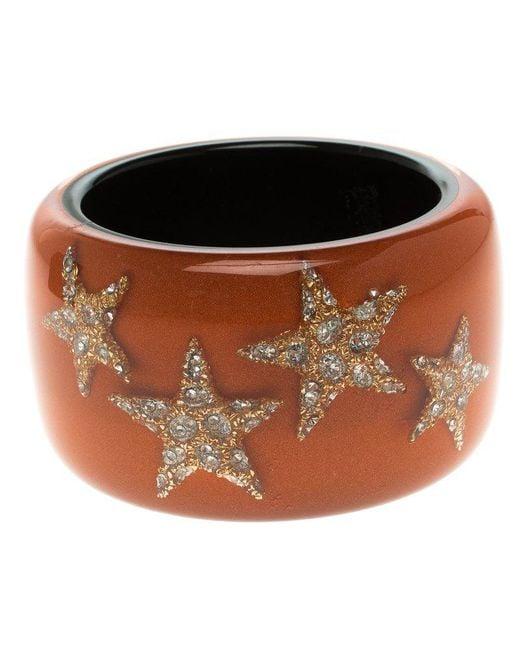 Roberto Cavalli - Orange Crystal Star Resin Wide Cuff Bangle 20cm - Lyst