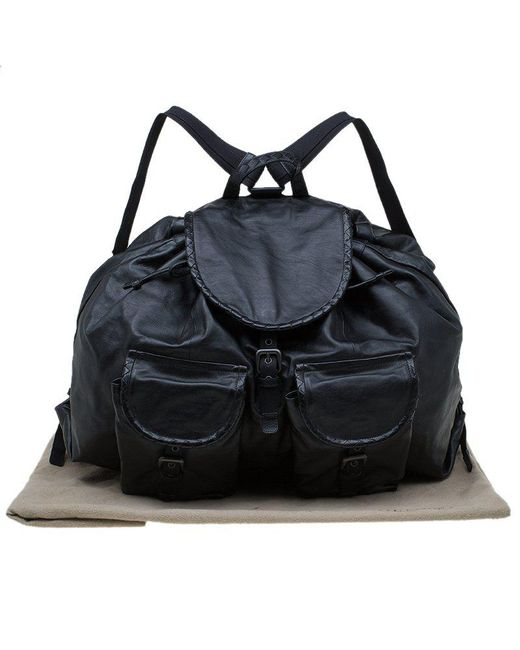 6a41328271 ... Bottega Veneta - Black Leather Drawstring Backpack for Men - Lyst ...