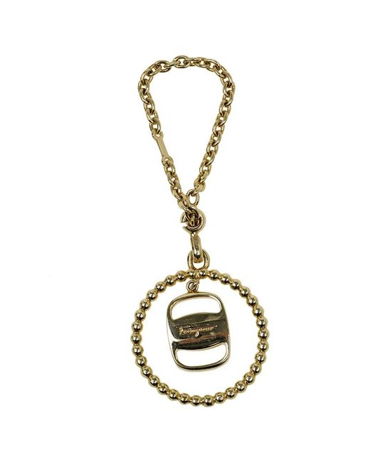 Ferragamo Metallic Gold Pendant Keyring
