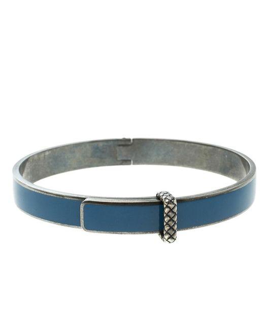 Bottega Veneta - Blue Intrecciato Enamel Oxidized Silver Narrow Bracelet M - Lyst