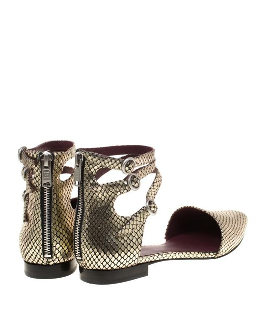 6290066c14ee ... Marc By Marc Jacobs - Metallic Gold Embossed Snakeskin Leather Minetta  Ankle Strap Flat Sandals Size ...