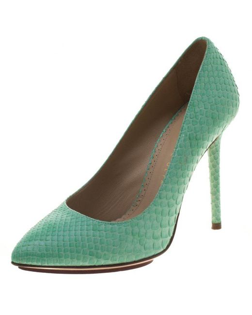Charlotte Olympia - Green Mint Python Monroe Pumps - Lyst