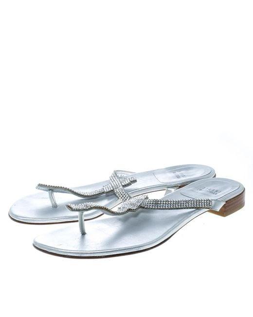 24ff29475 ... Stuart Weitzman - Metallic Silver Leather Vanity Crystal Encrusted T  Strap Flat Sandals Size 39.5 ...
