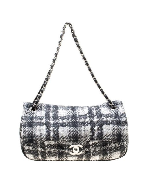 c03905968936 Chanel - Black  white Vertical Quilted Tweed Print Soft Shell Flap Bag -  Lyst ...