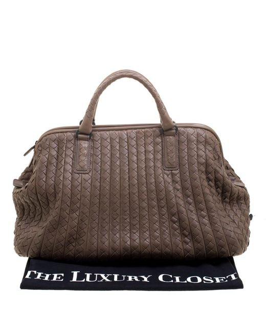 288e18a2650 ... Bottega Veneta - Natural Intrecciato Leather New Bond Satchel - Lyst ...