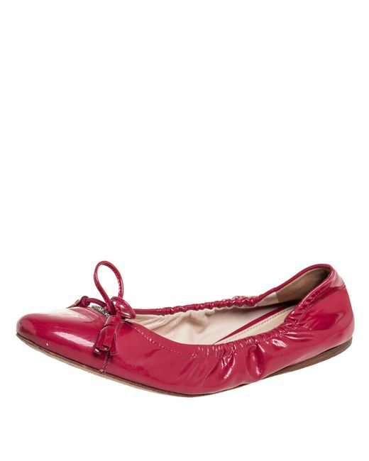 Prada Pink Patent Leather Tassel Bow Scrunch Ballet Flats