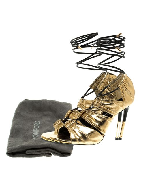 862072cb5f42 ... Tom Ford - Metallic Gold Leather Stardust Lace Up Cage Sandals - Lyst