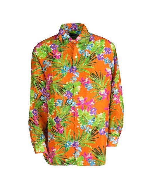 Ralph Lauren Orange Tropical Floral Print Button Front Silk Shirt for men