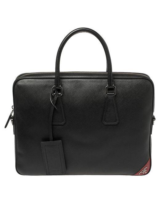 Prada Black Saffiano Leather Briefcase Laptop Bag for men