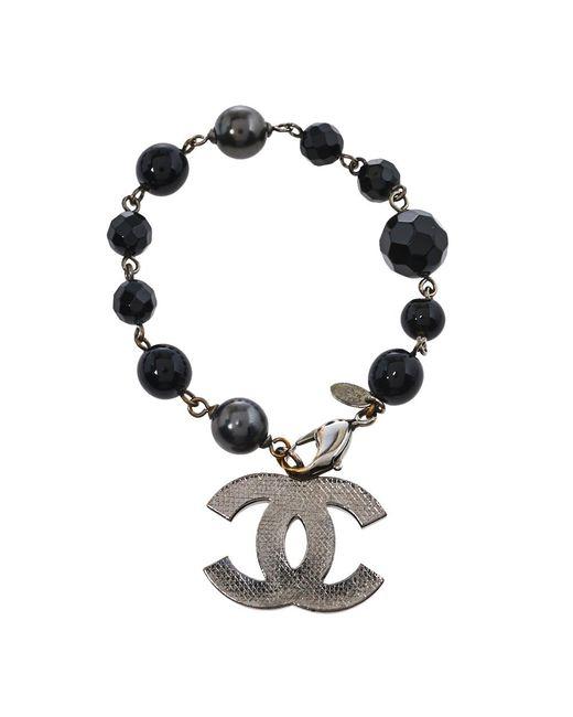 Chanel Black Beads Faux Pearl Silver Tone Cc Charm Bracelet