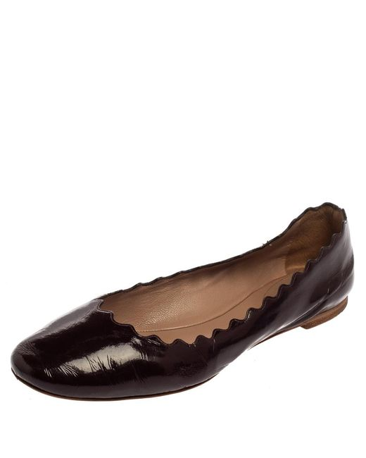 Chloé Chloé Brown Patent Leather Lauren Scalloped Ballerina Flats