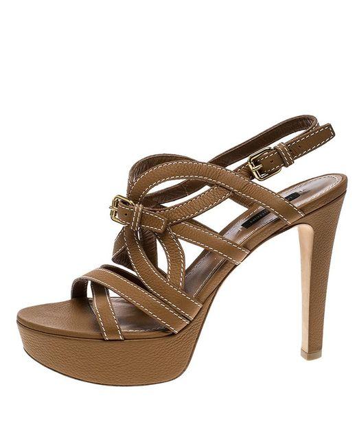 0c4b978580792 ... Louis Vuitton - Brown Leather Platform Stappy Sandals - Lyst ...