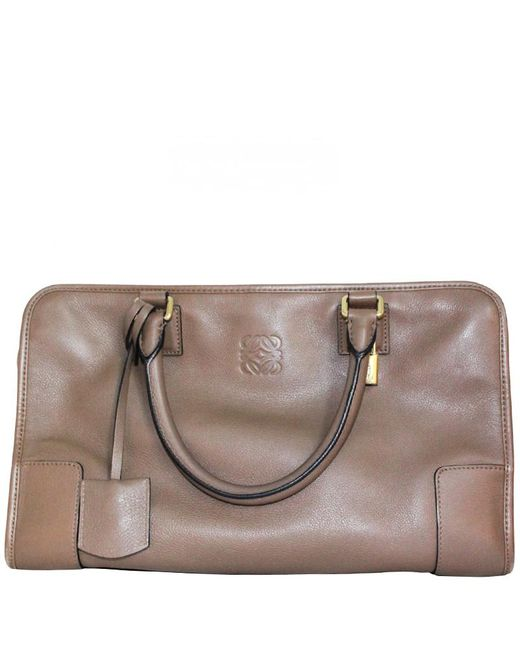 a08a0aea4af2 Loewe - Brown Taupe Leather Amazona 36 Satchel Bag - Lyst ...