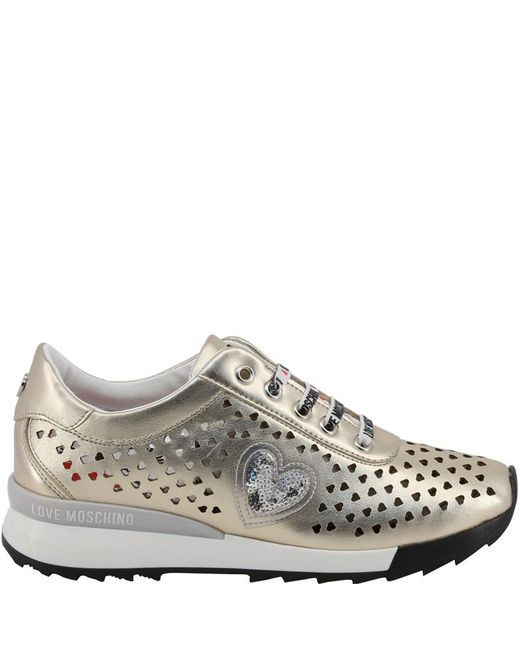 Moschino Multicolor Love Metallic Beige Faux Heart Perforated Faux Leather Platform Lace Up Sneakers Size 40