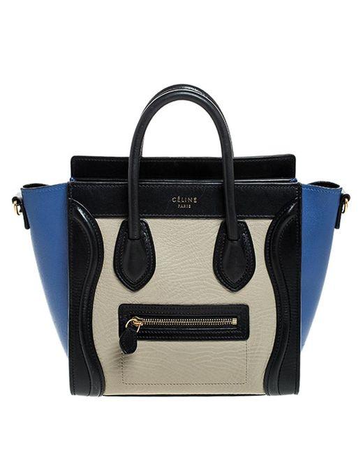 Céline Black Tricolor Leather Nano Luggage Tote