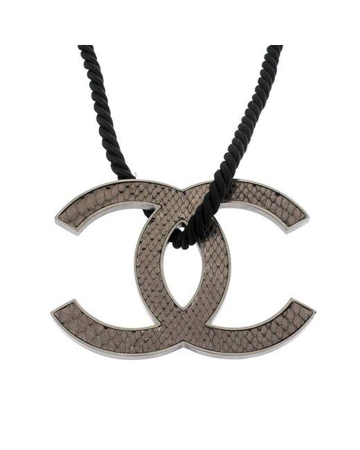 Chanel Gray Jumbo Leather Cc Reversible Pendant Cord Necklace