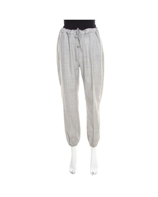 Max Mara Gray Grey Crosshatch Wool Elasticized Waist Jogger Pants M