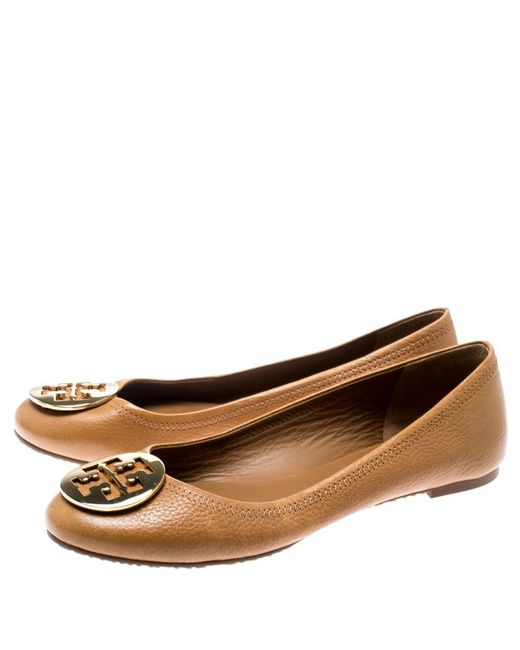 8549a556b ... Tory Burch - Brown Leather Reva Ballet Flats Size 39.5 - Lyst ...
