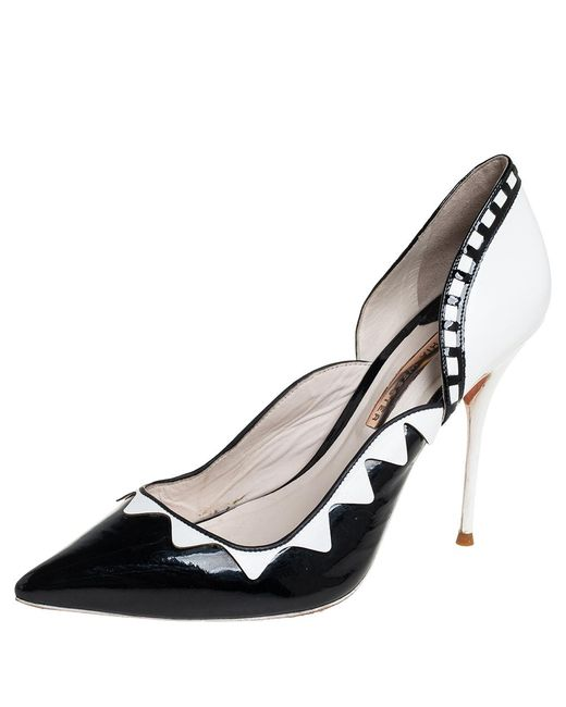 Sophia Webster Black/white Patent Leather And Leather D'orsay Pumps