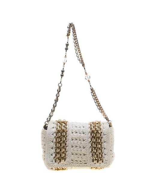 Dolce & Gabbana White Crochet Fabric Miss Charles Shoulder Bag