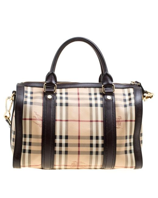 261d4eebe413 ... Burberry - Natural  brown Haymarket Check Canvas And Leather Alchester  Bowler Bag - Lyst ...
