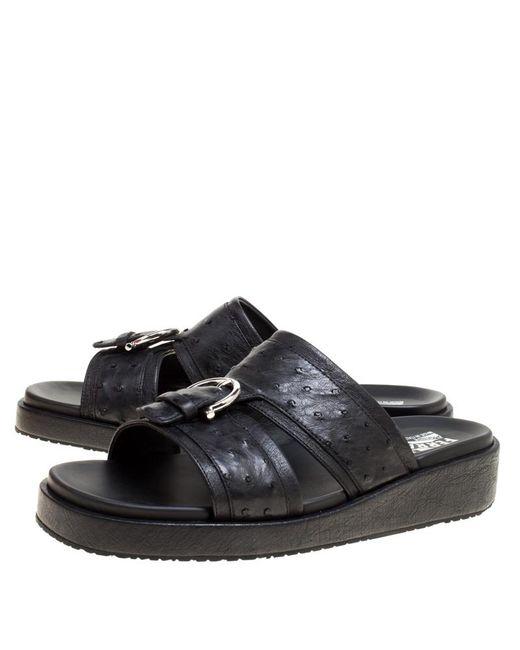 1edd385ff4ab ... Ferragamo - Black Ostrich Leather Lutfi Platform Slides Size 41 for Men  - Lyst ...