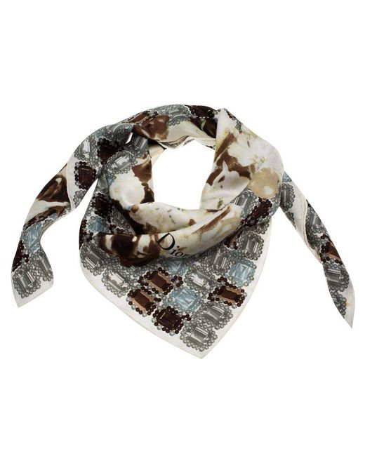 Dior - Brown Monochrome Flower And Jewels Printed Square Silk Scarf - Lyst