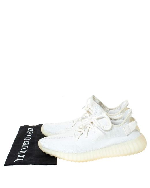 Yeezy White Cotton Knit Boost 350 V2 Sneakers Size 42 for men