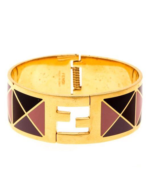 Fendi Metallic The Sta Multicolor Geometric Enamel Gold Tone Wide Bracelet