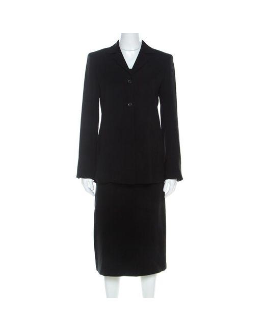 Max Mara Black Wool Midi Skirt Suit S