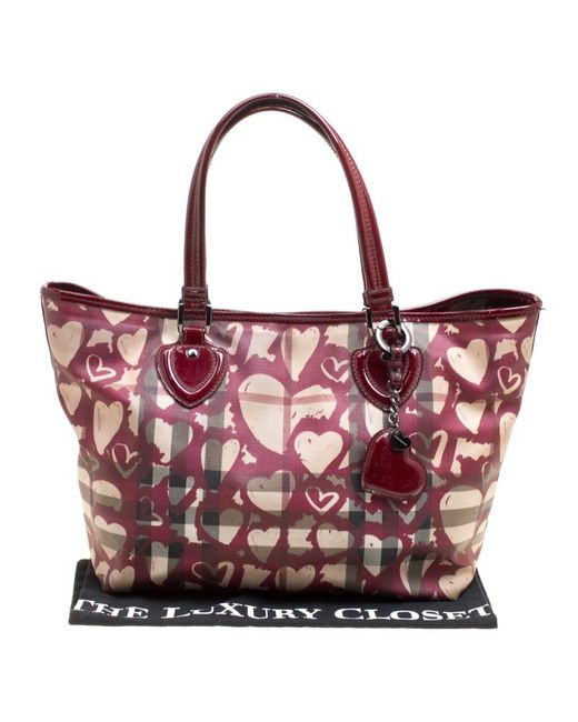 0d4c199fe5b6 ... Burberry - Multicolor Supernova Heart Check Coated Canvas And Patent Leather  Large Tote - Lyst ...