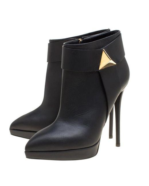 1c411ab233ef0 ... Giuseppe Zanotti - Black Leather Pyramid Stud Platform Ankle Boots -  Lyst ...