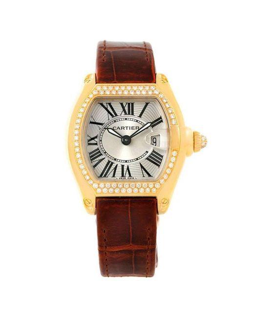 Cartier Metallic Silver 18k Yellow Gold Diamonds Roadster Women's Wristwatch 31mm