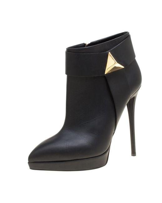 0d177aa0cea62 Giuseppe Zanotti - Black Leather Pyramid Stud Platform Ankle Boots - Lyst  ...