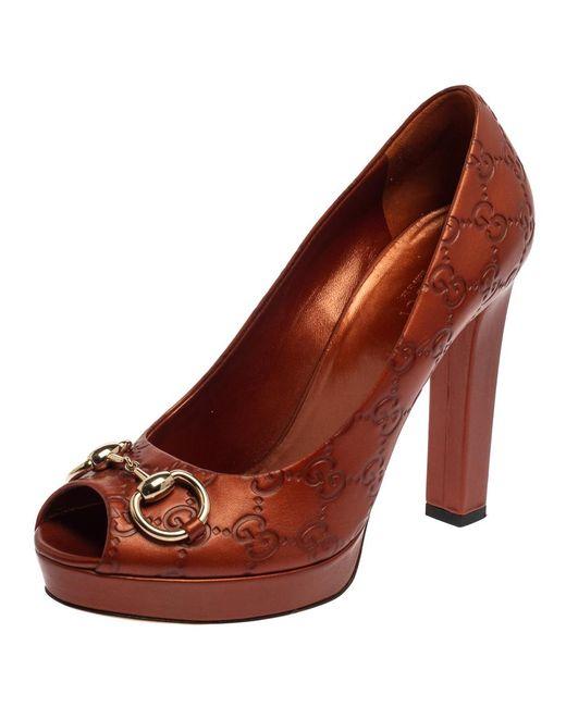 Gucci Brown GG Leather Horsebit Peep Toe Platform Pumps