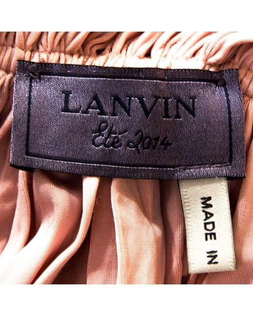 Lanvin Pink Satin Jersey Draped Gown M
