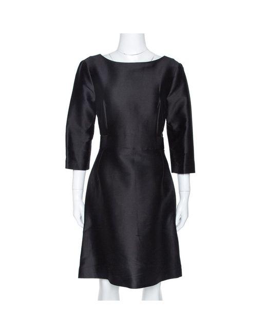 Balenciaga Black Cotton And Silk Blend Belted Three Quarter Sleeve Dress