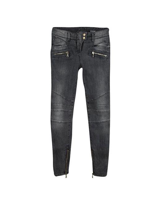78229a30011738 Balmain - Gray Grey Faded Effect Denim Logo Button Detail Distressed Jeans  S - Lyst ...