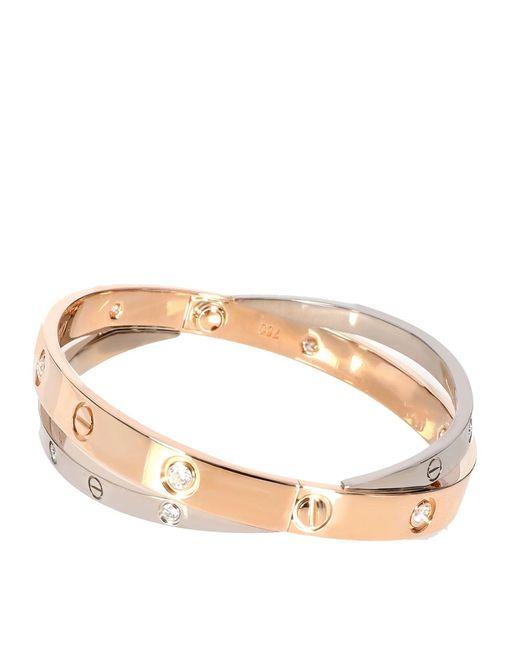 Cartier Metallic Rose Gold & White Gold 0.75 Ctw Diamond Double Love Bracelet