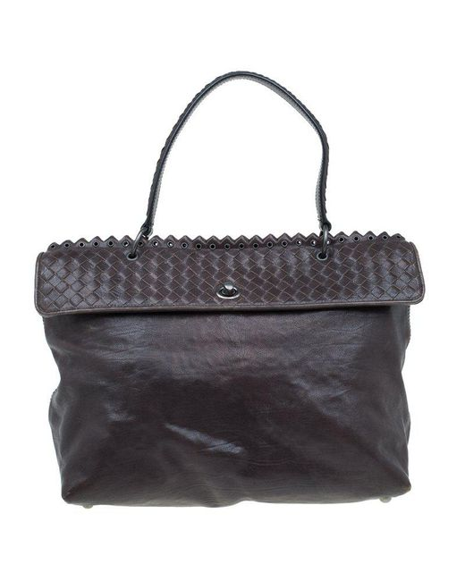 9793b3fe9eb3 Bottega Veneta - Brown Dark Woven Leather Tiina Bag - Lyst ...