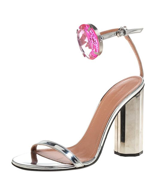Marco De Vincenzo Metallic Silver Leather Chunky Jewel Embellished Ankle Strap Sandals