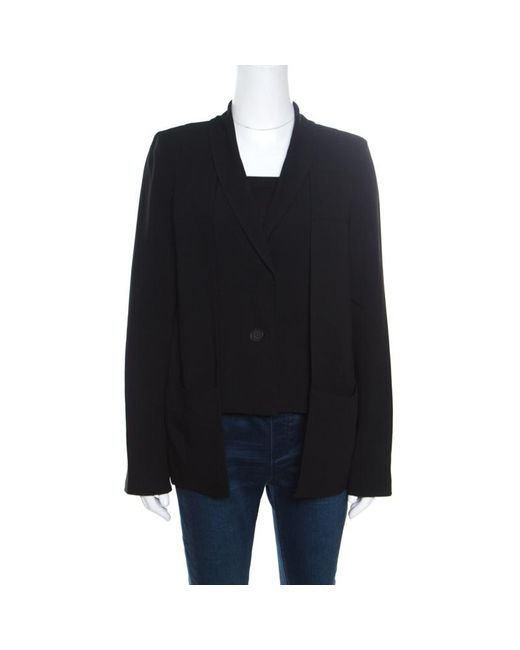 Derek Lam 10 Crosby Black Crepe Faux Vest Detail Layered Blazer