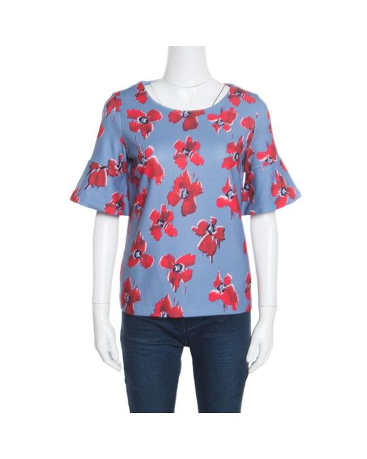 BOSS by Hugo Boss Hugo By Blue Floral Printed Flared Sleeve Namilla Top